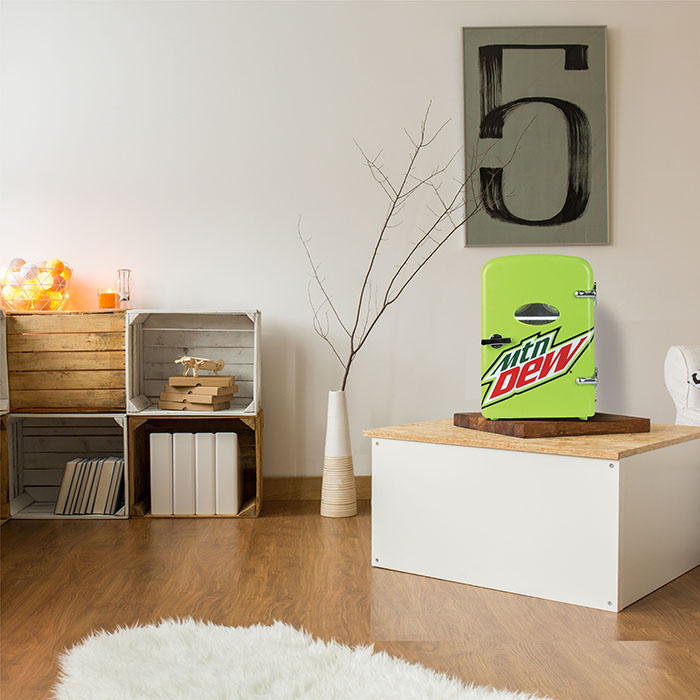decorative mountain dew mini fridge