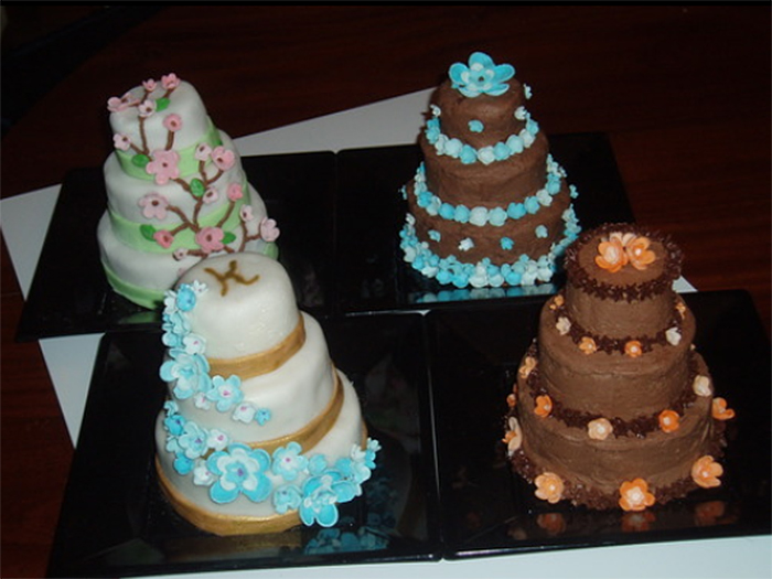 decorative three-tier cakes