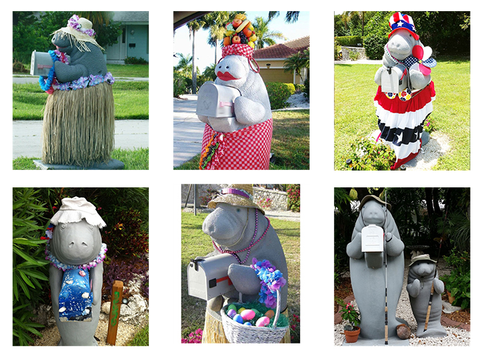 dressed up manatee mailboxes