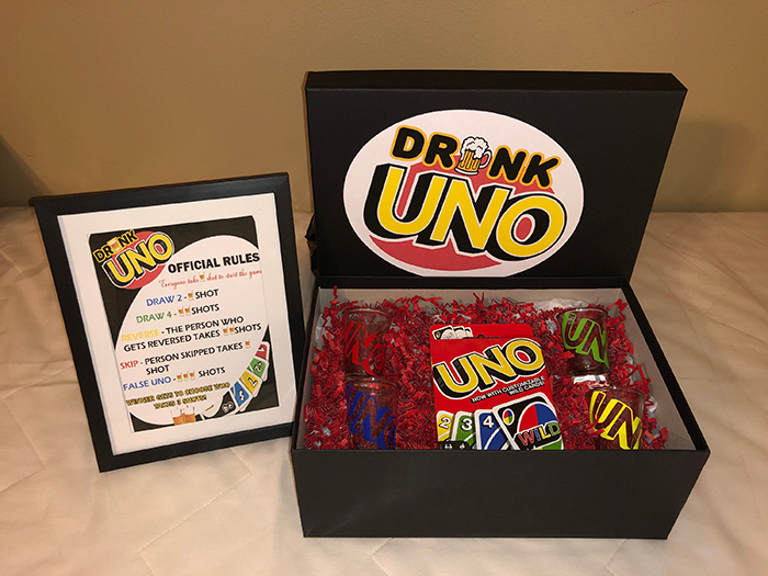 drunk uno game with box