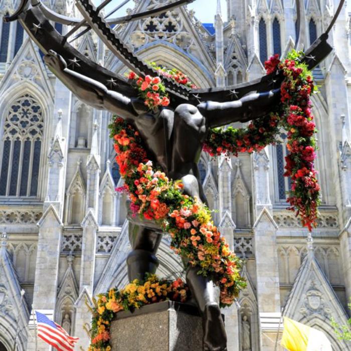 floral arrangement lewis miller atlas statue