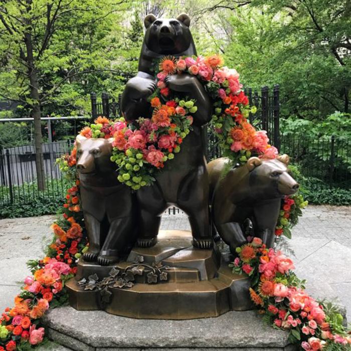 floral arrangement lewis miller group of bears statue