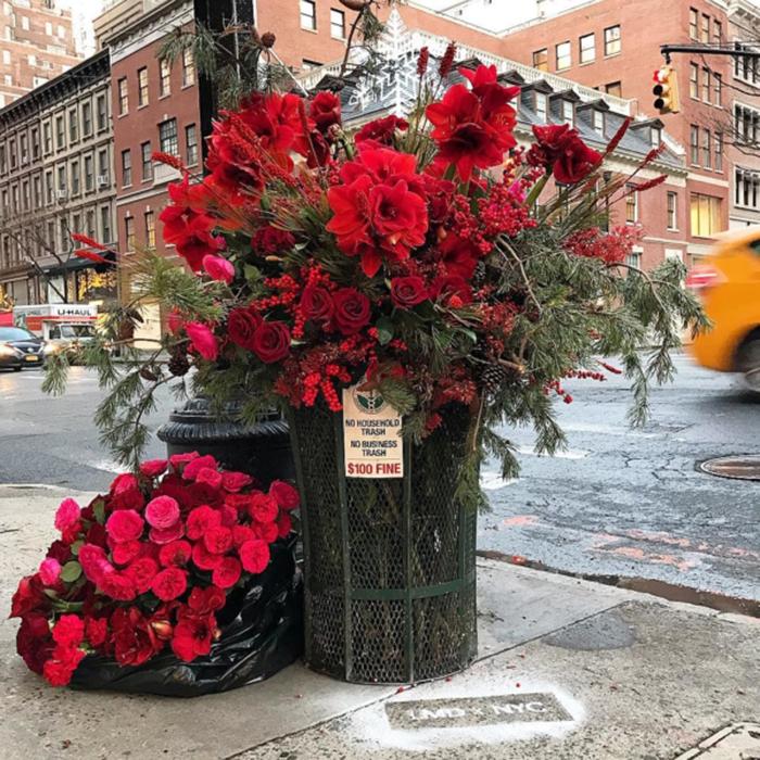 floral arrangement lewis miller madison ave trash can