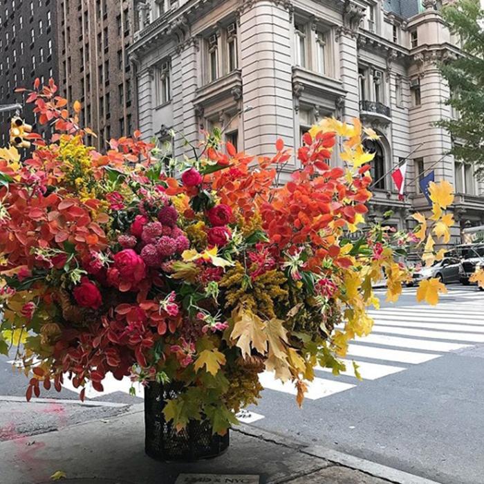 floral arrangement lewis miller trash can madison ave