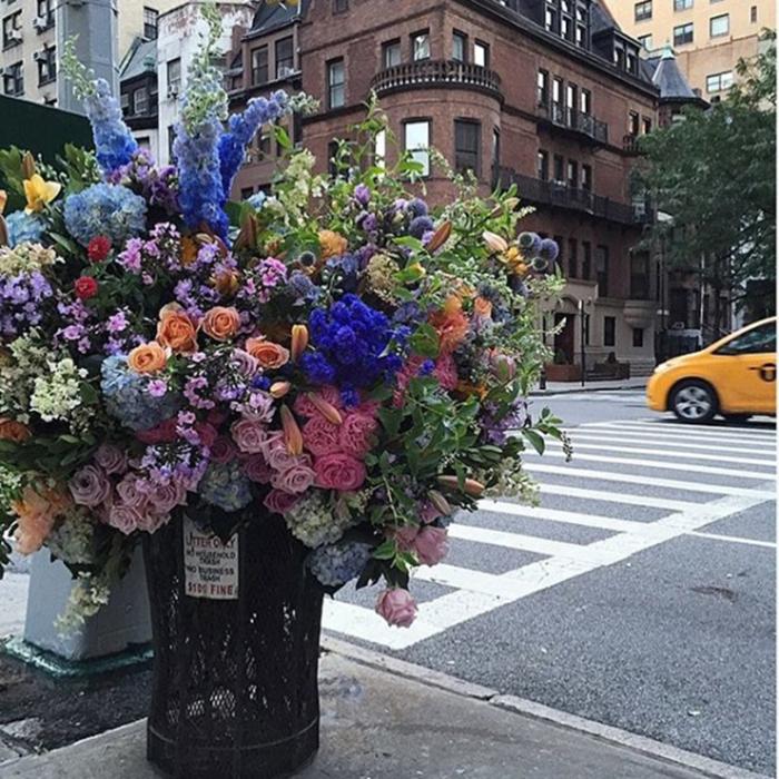 floral arrangement lewis miller trash can west end ave