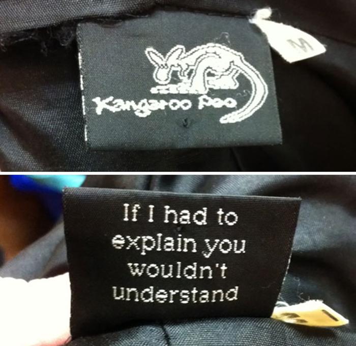 funny clothing tags kangaroo poo