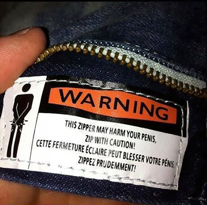 funny clothing tags zipper harmful to penis