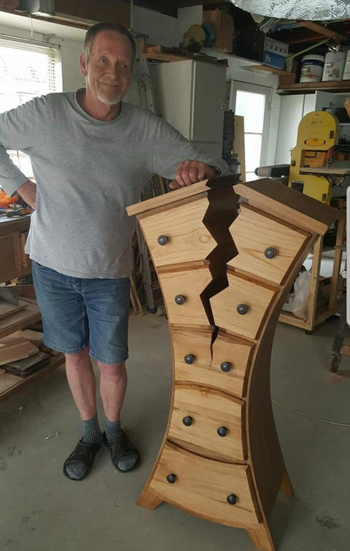 henk verhoeff showing unique woodwork creation