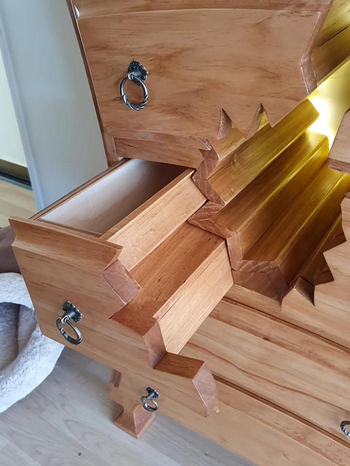 henk verhoeff unique cabinet falling apart detail