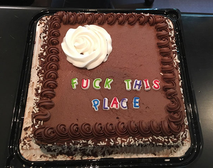 hilarious farewell cakes fuck this place