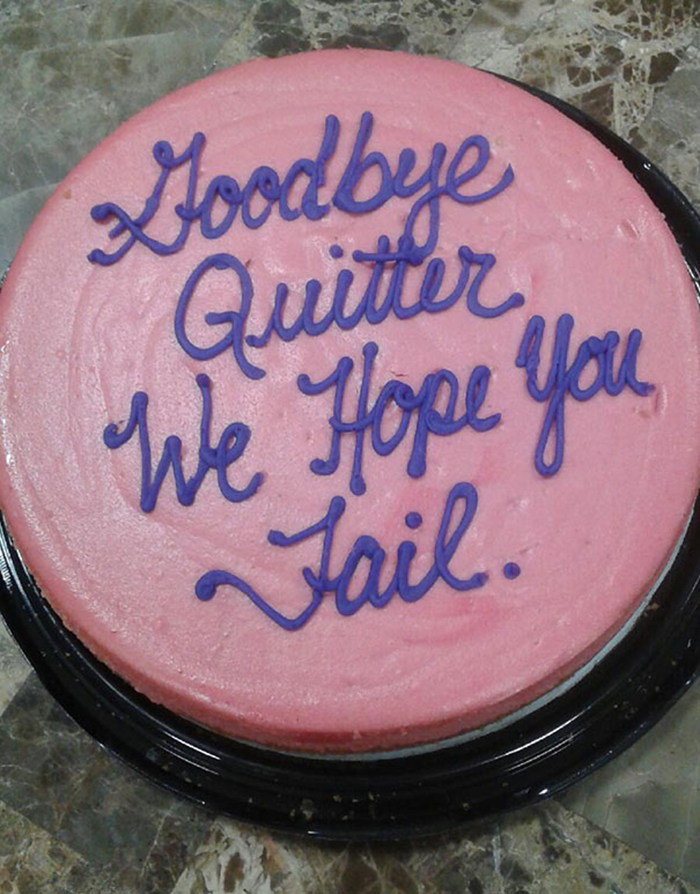 hilarious farewell cakes goodbye quitter