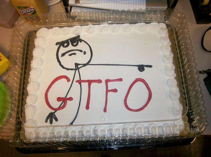 hilarious farewell cakes gtfo