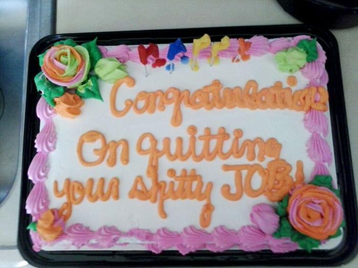 hilarious farewell cakes shitty job