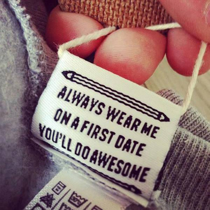 hilarious product label first date awesome
