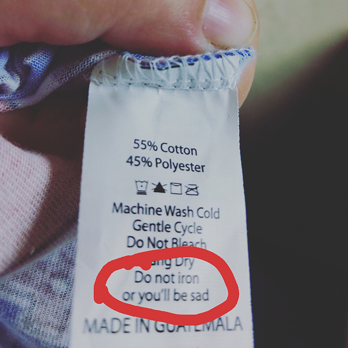 hilarious product label sad iron