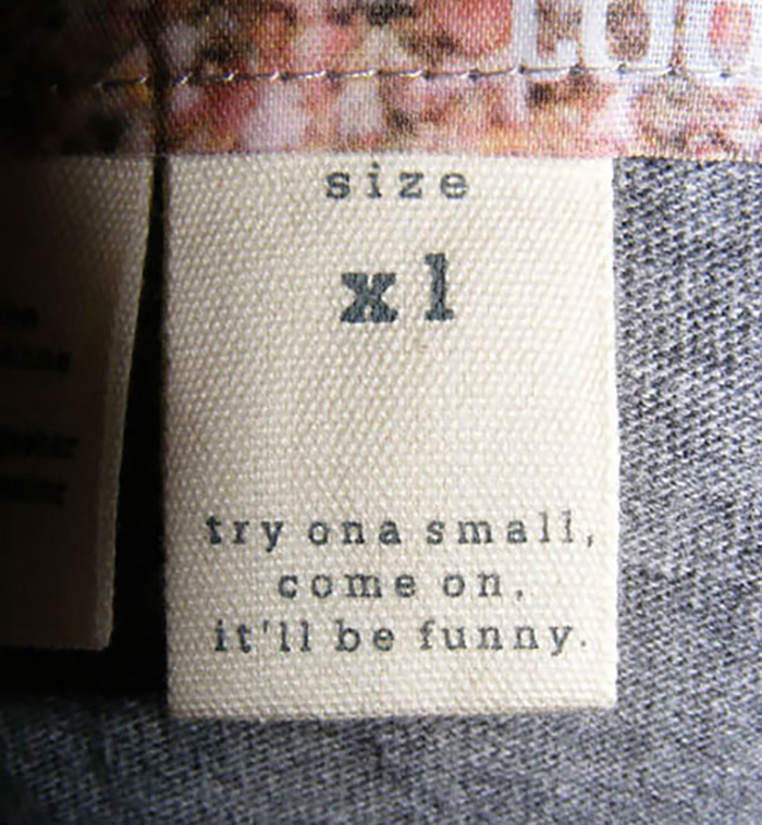 hilarious product label size xl