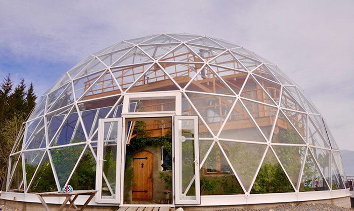 hjertefolger family cob house with geodesic dome