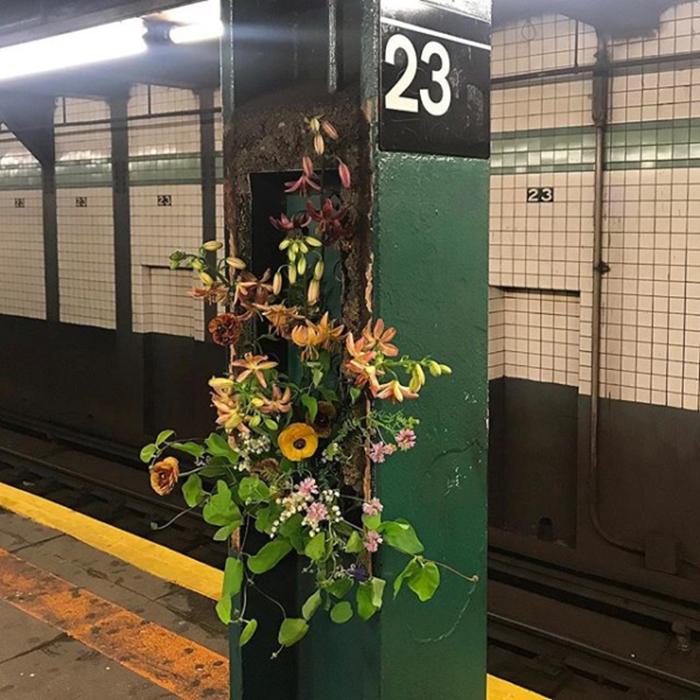 lewis miller flowers new york city subway platform
