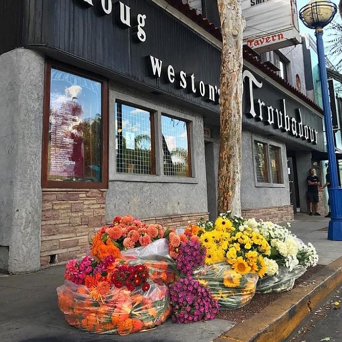 los angeles floral arrangement garbage bags