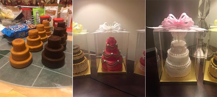 multi-tiered cake pan makes decorative mini cakes