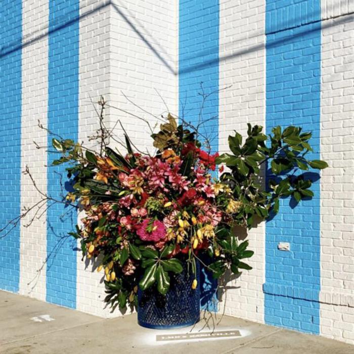 nashville floral arrangement lewis miller trash can