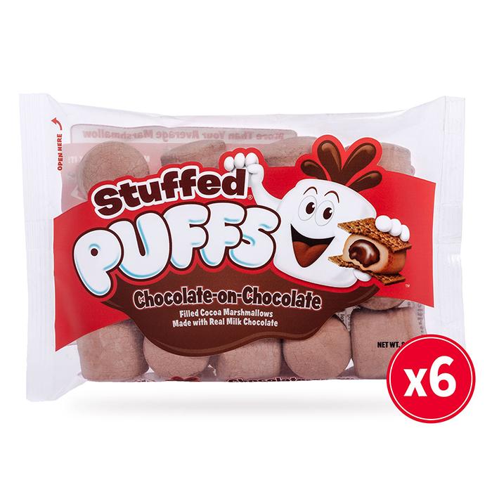 pack of 6 chocolate stuffed puffs