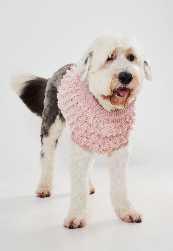 pink cable knit jumper for dogs