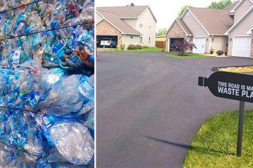 plastic bottle road
