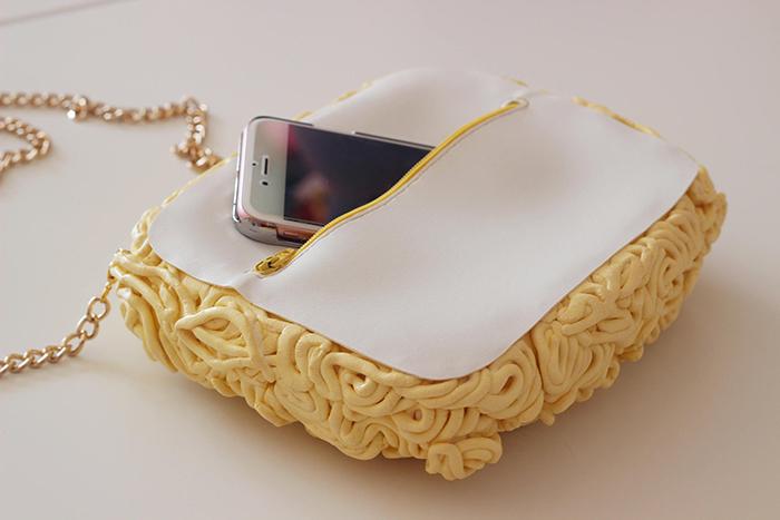 ramen noodle handbag zippered opening closure