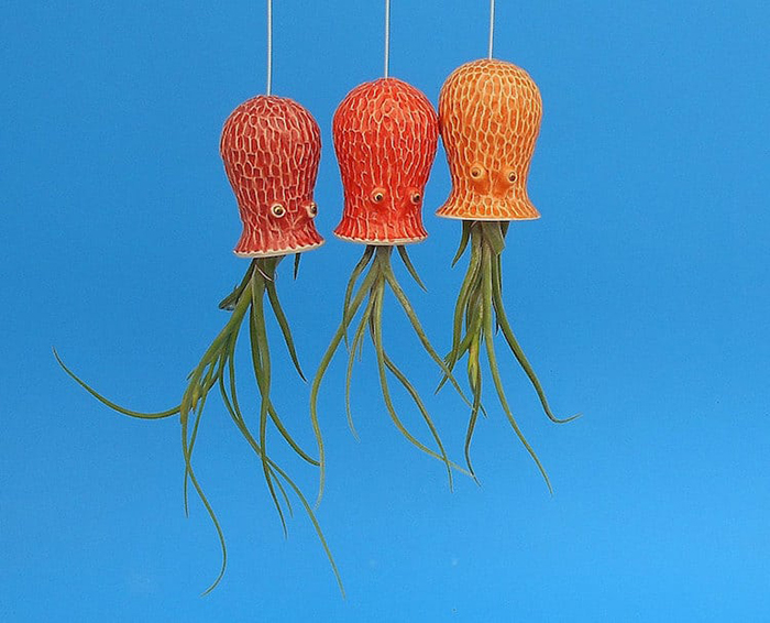 red, orange, and yellow orange octopus planters