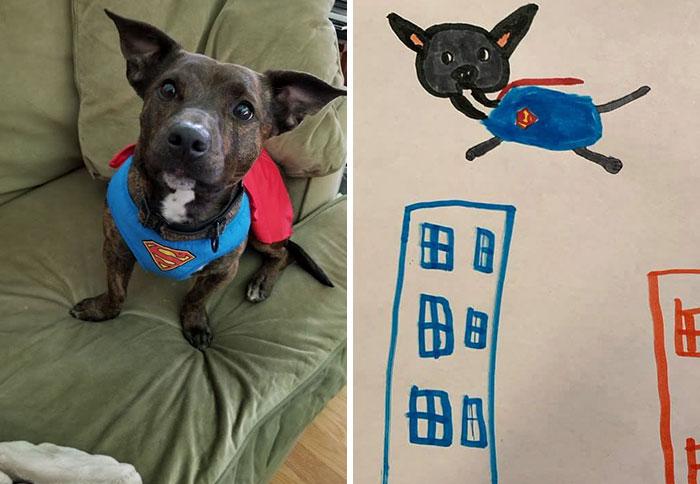 rescue dog drawn as superdog