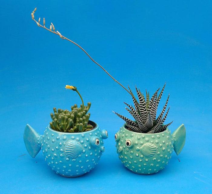 teal and aqua pufferfish planter