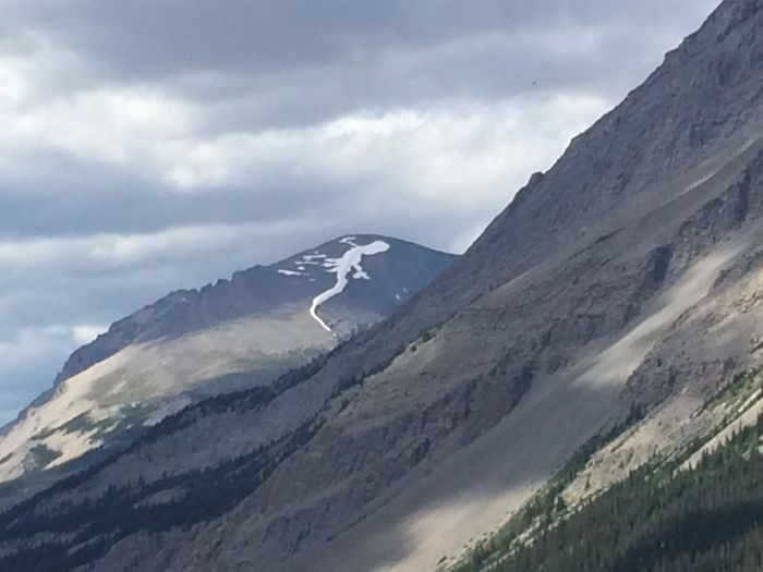 the snow on top of this mountain looks like a lizard