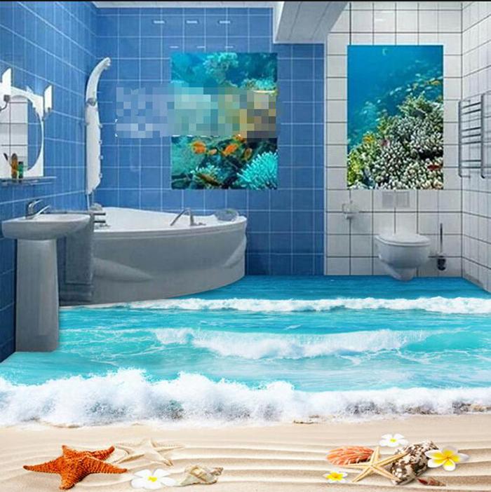 vinyl floor wallpapers bathroom beach