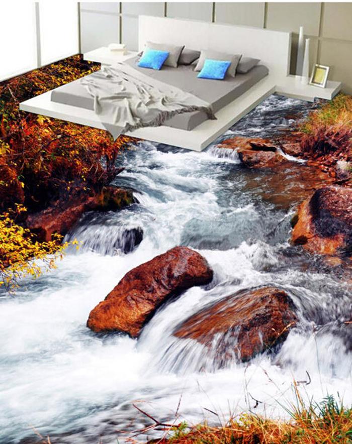 vinyl floor wallpapers bedroom water stream