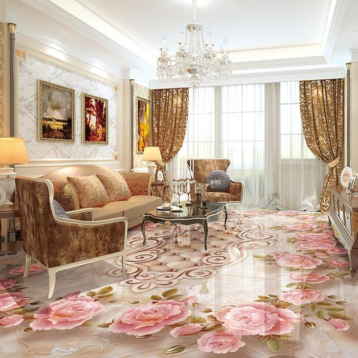 vinyl floor wallpapers living room flowers