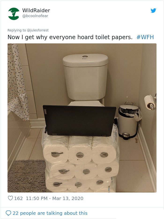 working from home unglamorous workspace toilet paper desk
