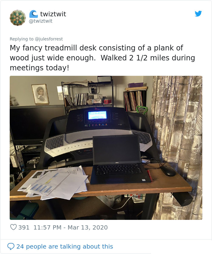 working from home unglamorous workspace treadmill desk