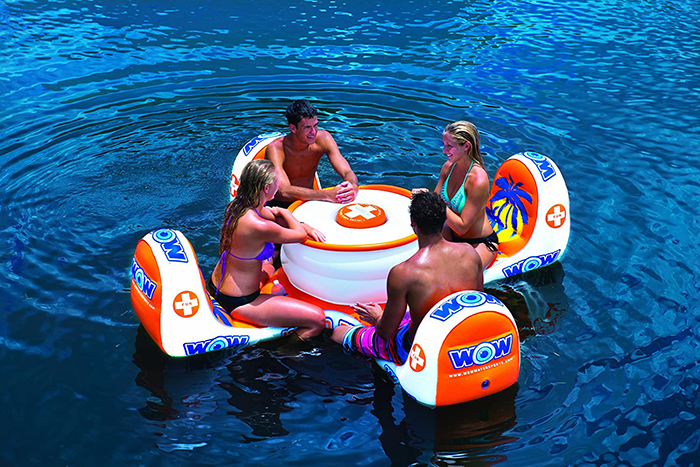 4-person floater with chairs and cooler