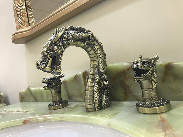 Antique Brass Dragon Faucet Detailed 1