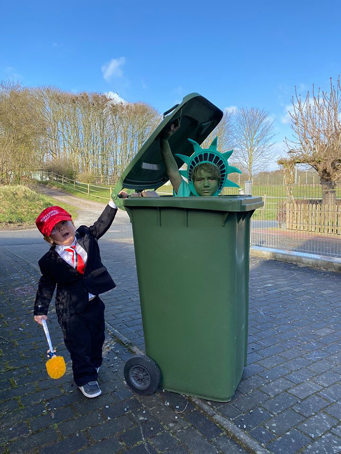 Bin Isolation Outing Boy Dressed as Donald Trump Taking Bin Out
