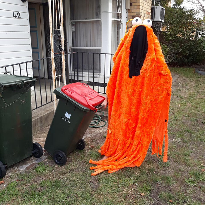 Bin Isolation Outing Person Dressed as Yip Yip Taking Bin Out