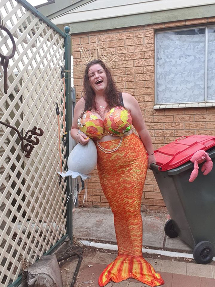 Bin Isolation Outing Woman Dressed as Mermaid Taking Bin Out