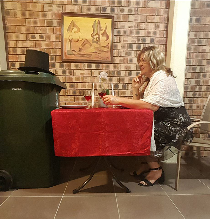 Bin Isolation Outing Woman on a Date with a Bin