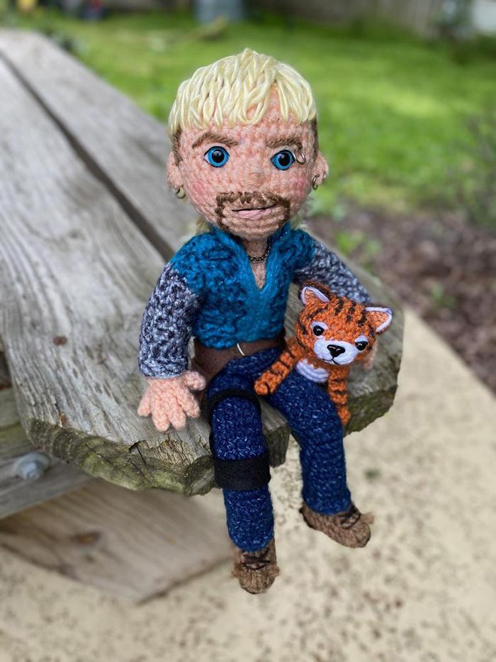 Crochet Joe Exotic Sitting and Holding Tiger Cub