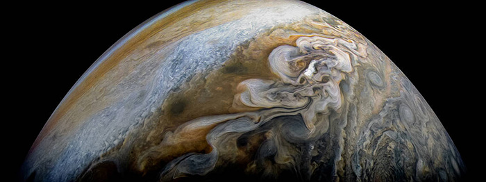 Jupiter Swirling Cloud Formations Photo