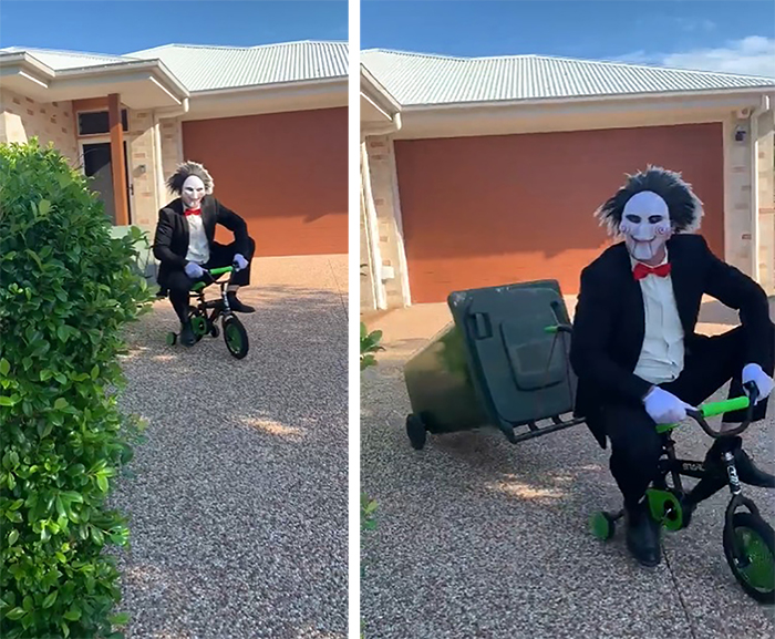 Person Dressed as Jigsaw Riding a Mini Bicycle