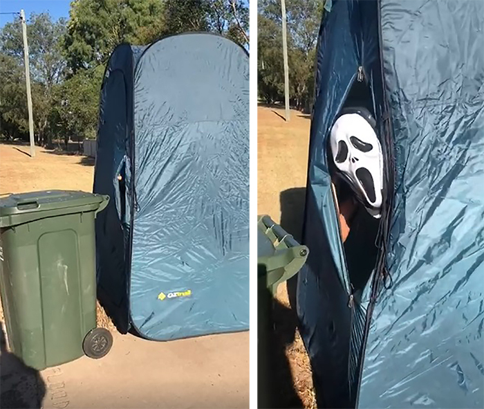 Person Inside a Tent Wearing Ghostface Mask Taking Trash Out