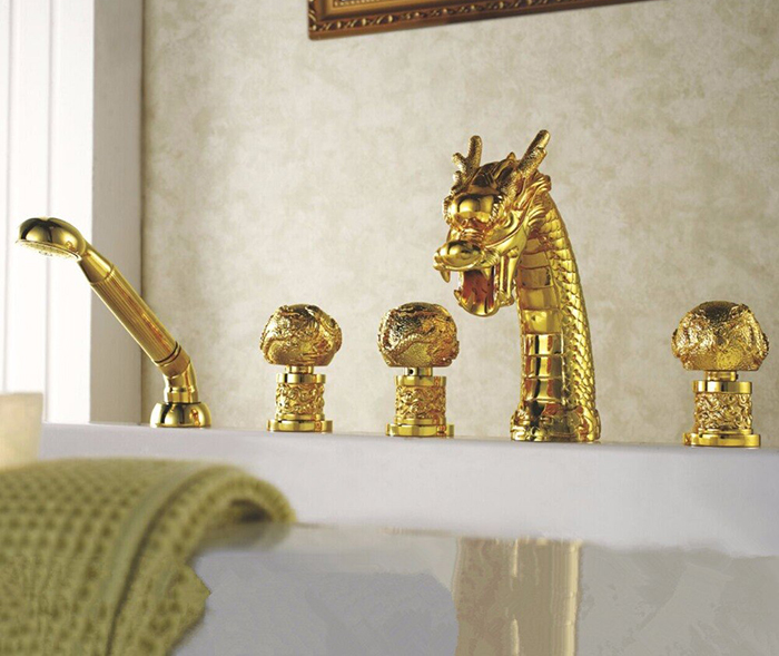Widespread Waterfall Gold Mythical Creature Tub Tap