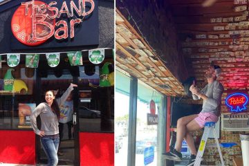bar owner takes down money from walls
